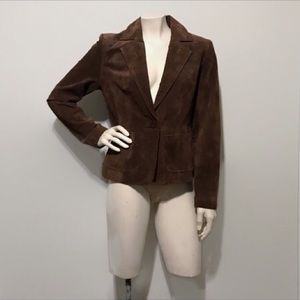 New York & Co Brown Suede Leather Jacket Size 2
